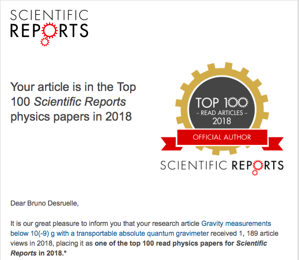 Muquans article in the Top 100 Nature Scientific Reports